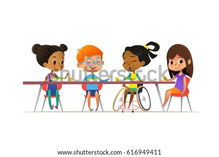 Girl in wheelchair sitting at table in canteen and talking to her friends. Happy multiracial kids having lunch. School inclusion concept. Illustration for website, advertisement, poster, flyer.