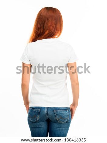 Girl in white t-shirt over white (back)