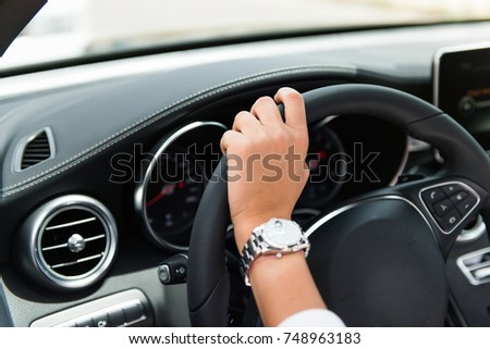 Man Hand Use The Signal Switch Car Interior Detail Ez Canvas