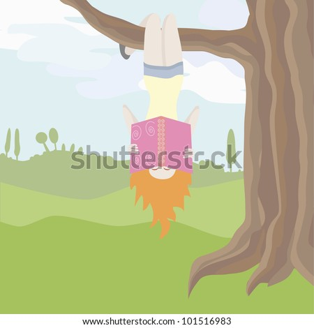 Girl Hanging Upside Down From a Tree Hanging Upside Down an a
