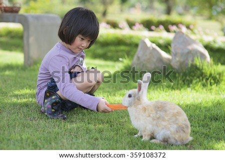 girl  is feeding the rabbit - stock photo