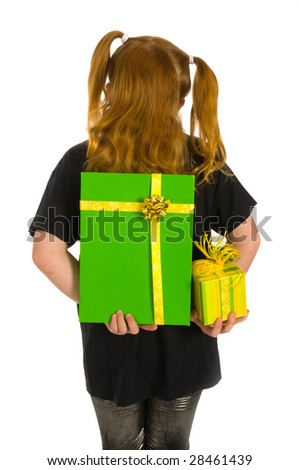 Girl is hiding green luxury presents behind her back
