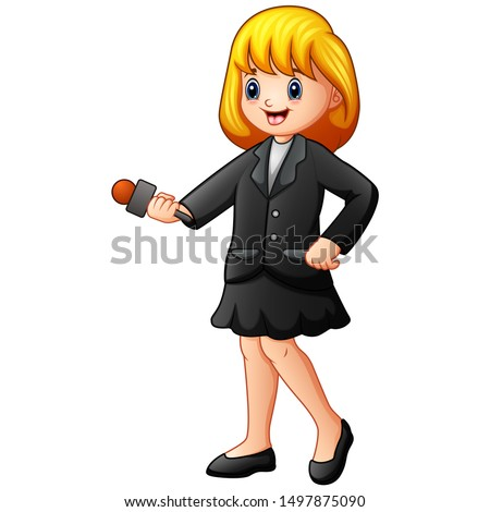 Girl journalist holding microphone broadcasting breaking news concept