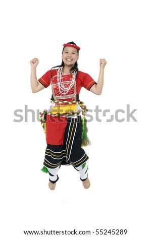 girl jump excitement in tradition costume