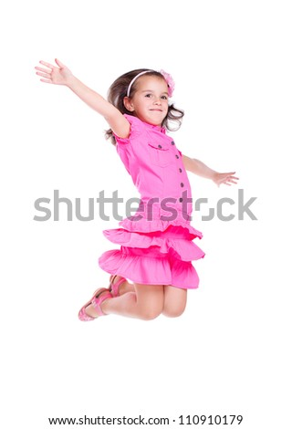 Girl  jumping high on white background