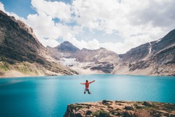 Girl Jumps In front of McArthur Lake, Canada
