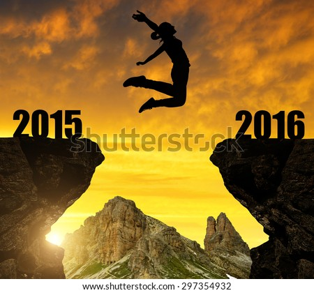 Girl jumps to the New Year 2016 #297354932