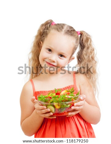girl kid with healthy food vegetables