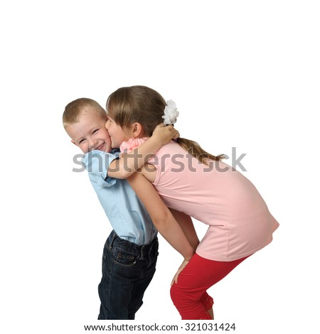 Girl Kissing Boy on Cheek Girl Kisses on Cheek Little