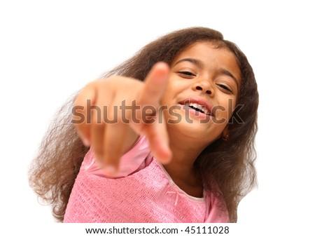 girl laughing at somebody