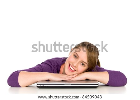 Girl leaning on table with laptop