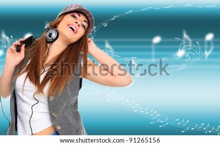 Girl listen music over  a light musical background