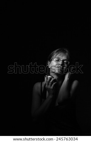 girl listening to music. black and white