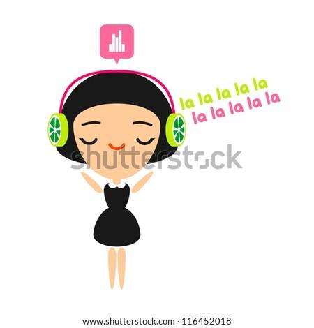 Girl listening to music on her headphones (raster version)