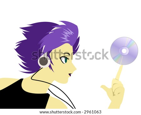 Girl Listening to Music, with CD