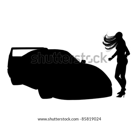 girl looking at car isolated silhouette high heels