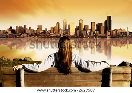 Girl looking at the City of Seattle