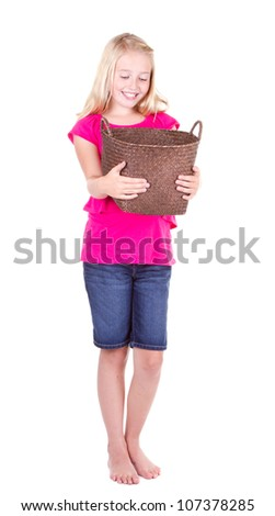 girl looking down into empty basket full length, isolated on white