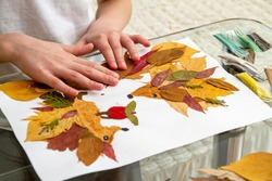 Girl makes an application from dry leaves. Children applique on the autumn theme. Hedgehogs and apple