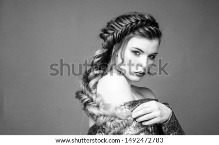 Girl makeup face braided long hair. French braid. Professional hair care and creating hairstyle. Braided hairstyle. Beautiful young woman with modern hairstyle. Beauty salon hairdresser art. #1492472783