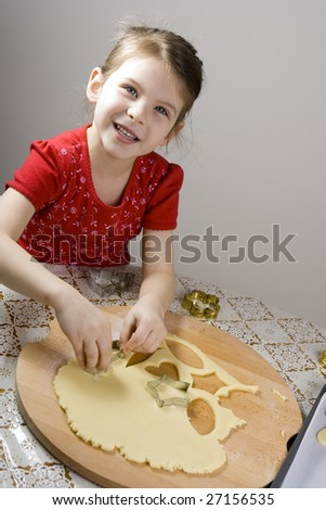 girl making cookies
