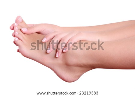 girl massage her foot - stock photo