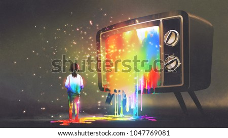 girl messed with colorful light from the big television, rainbow paint drops from retro TV, digital art style, illustration painting
