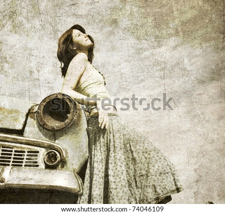 Girl near retro car. Photo in old image style.