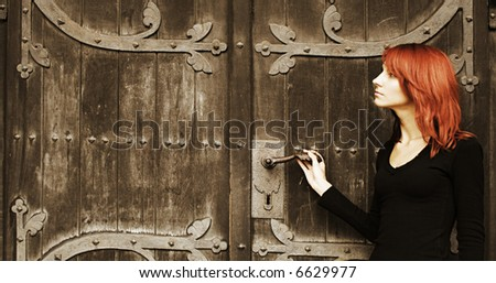 girl near the old fashioned door (SOFT FOCUS)