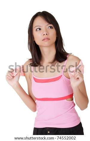 Girl of fitness, closeup portrait of Asian sport woman over white background.