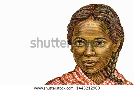 Girl of Madagascar, Portrait from Madagascar 500 Francs 1994 Banknotes. An Old paper banknote, vintage retro. Famous ancient Banknotes. Collection.