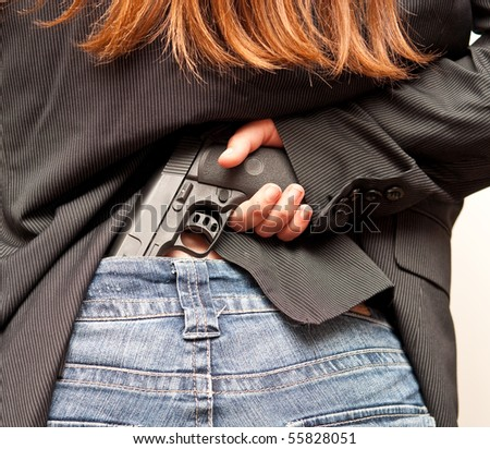Girl Officer Concealing Weapon