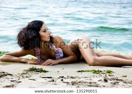 Girl on a beach in the summer