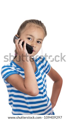 Girl on a cell phone talking,isolated on white