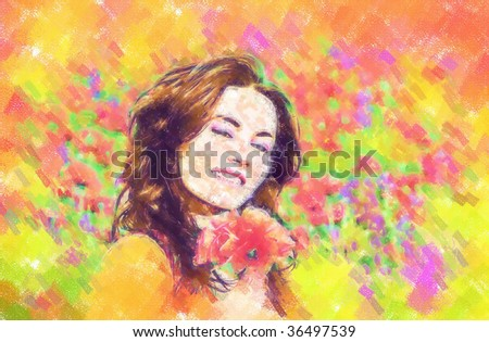 girl on a field with poppies. Draw