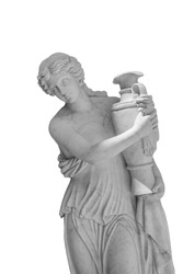 Girl on a white background and ancient Greek sculpture holding a vase