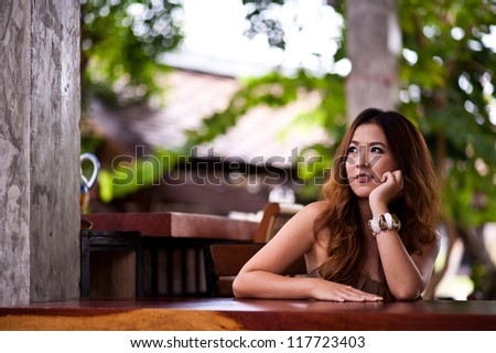 girl on counter bar