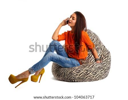 girl on pouf zebra