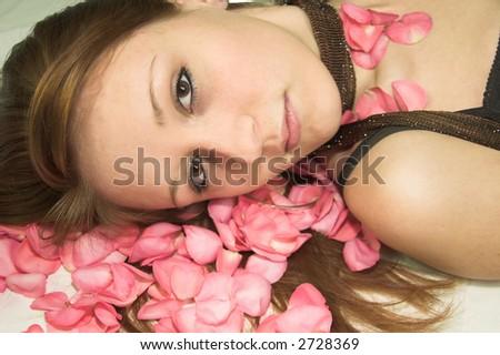 girl on roses