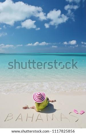Girl on the beach. Great Exuma, Bahamas  #1117825856