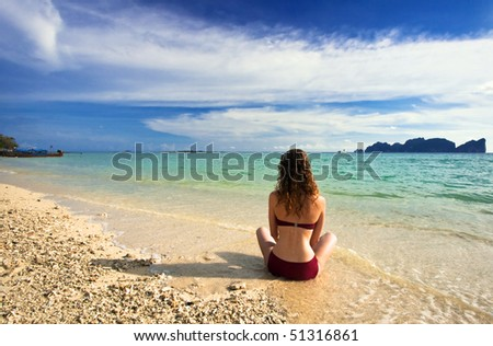 Girl on the beach. Phi Phi island. Thailand