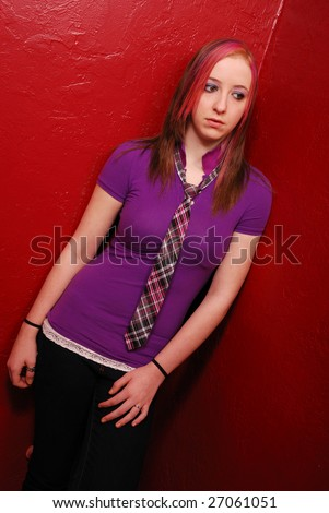 girl on the red wall
