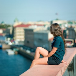 Girl on the roof, St. Petersburg