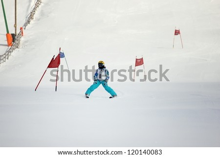 Girl on the ski competition