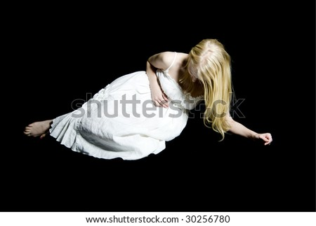 Girl or Young Woman in Nightgown Clutching Her Abdomen in Pain.