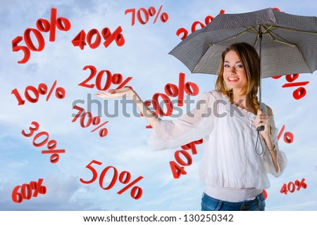 Girl over a sky background, percents falling
