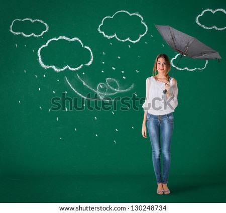 Girl over chalk board, bad weather concept