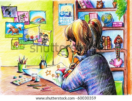 Girl painting a picture-my own artwork-colored pencils.