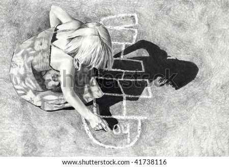 Girl Playing Hopscotch Pencil Drawing