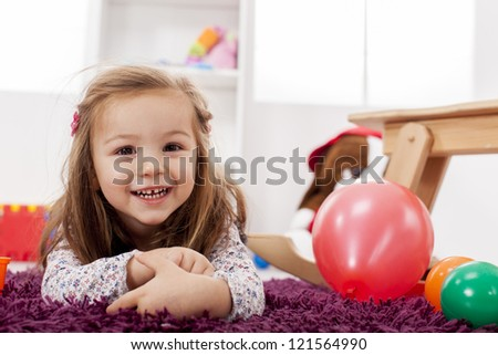Girl playing in the room